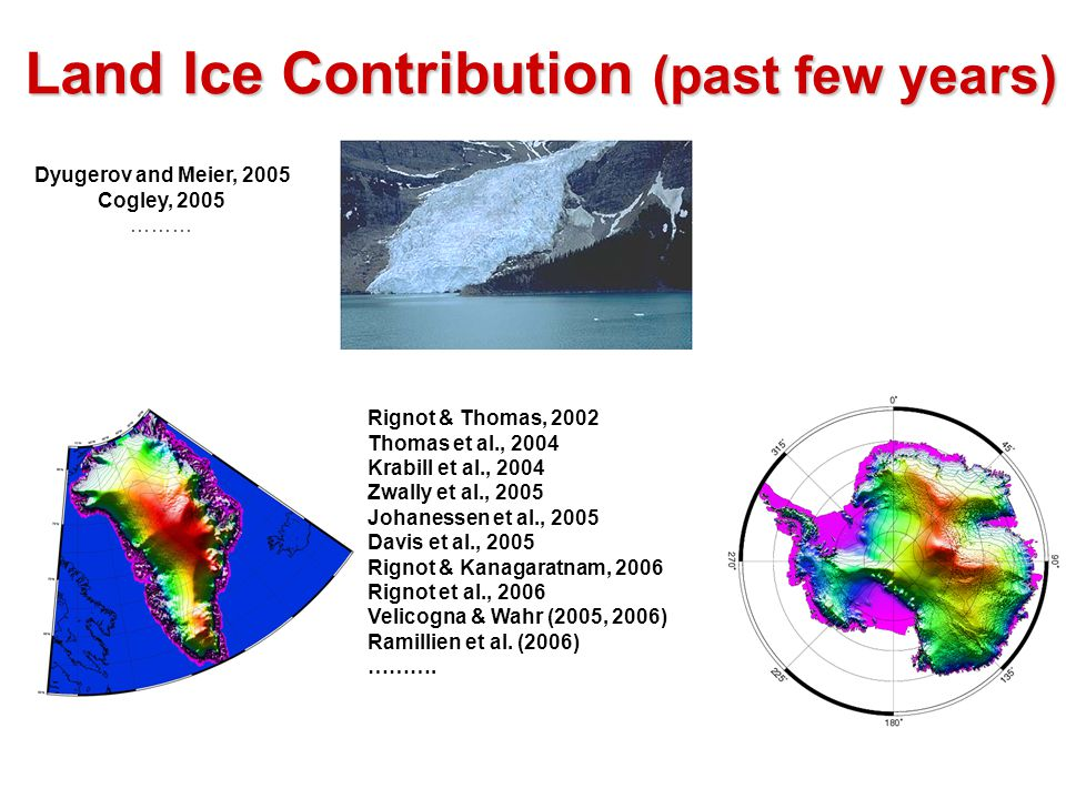 Land Ice Contribution (past few years) Dyugerov and Meier, 2005 Cogley, 2005 ……… Rignot & Thomas, 2002 Thomas et al., 2004 Krabill et al., 2004 Zwally et al., 2005 Johanessen et al., 2005 Davis et al., 2005 Rignot & Kanagaratnam, 2006 Rignot et al., 2006 Velicogna & Wahr (2005, 2006) Ramillien et al.