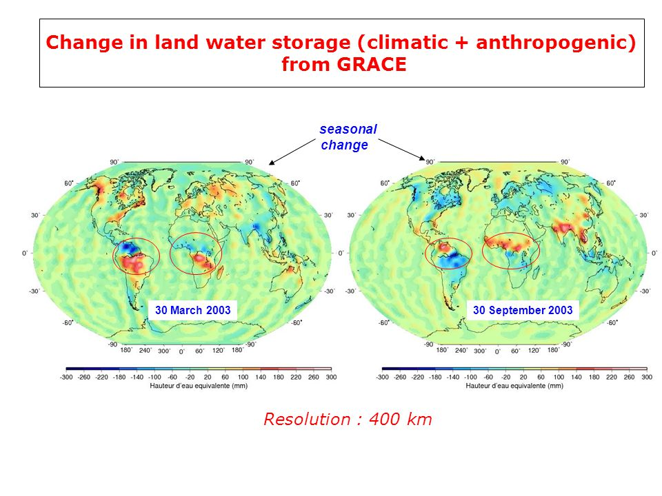 30 March September 2003 seasonal change Change in land water storage (climatic + anthropogenic) from GRACE Resolution : 400 km