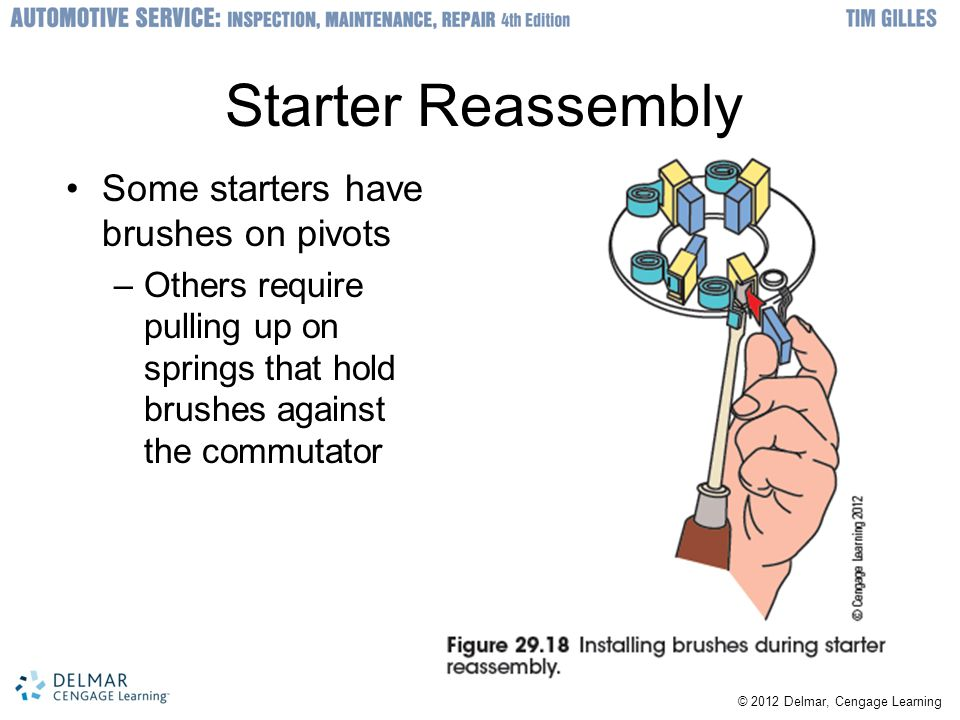 Starter Reassembly Some starters have brushes on pivots –Others require pulling up on springs that hold brushes against the commutator