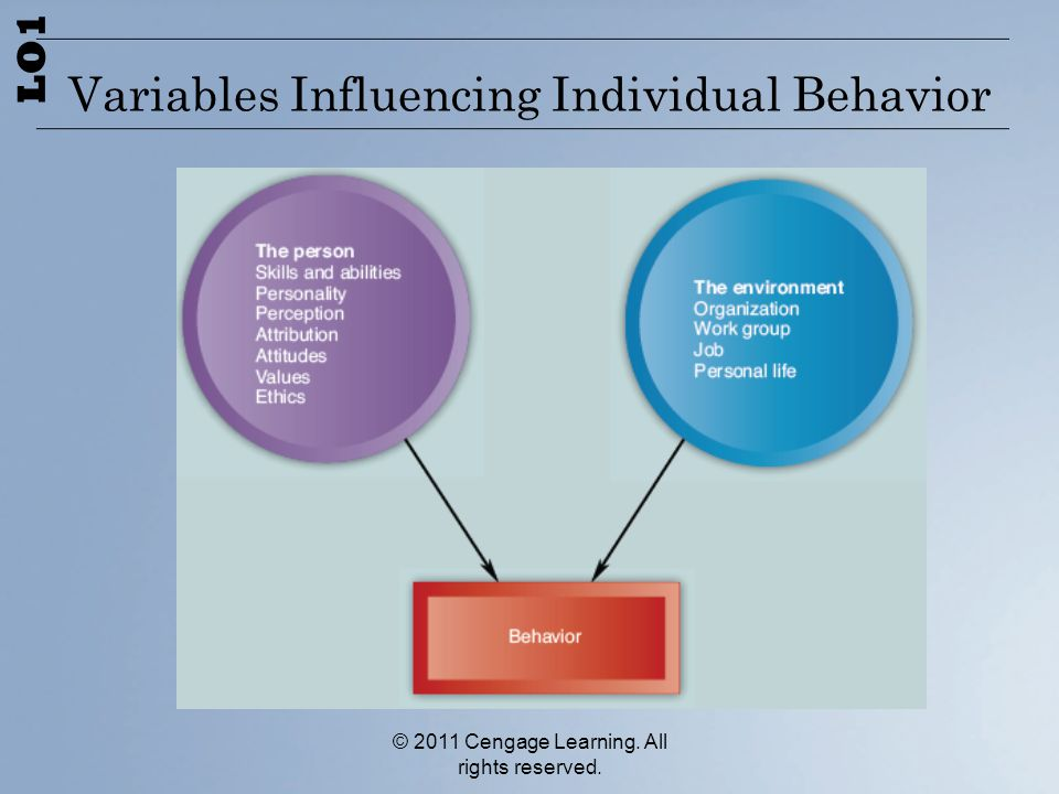 © 2011 Cengage Learning. All rights reserved. Variables Influencing Individual Behavior LO1