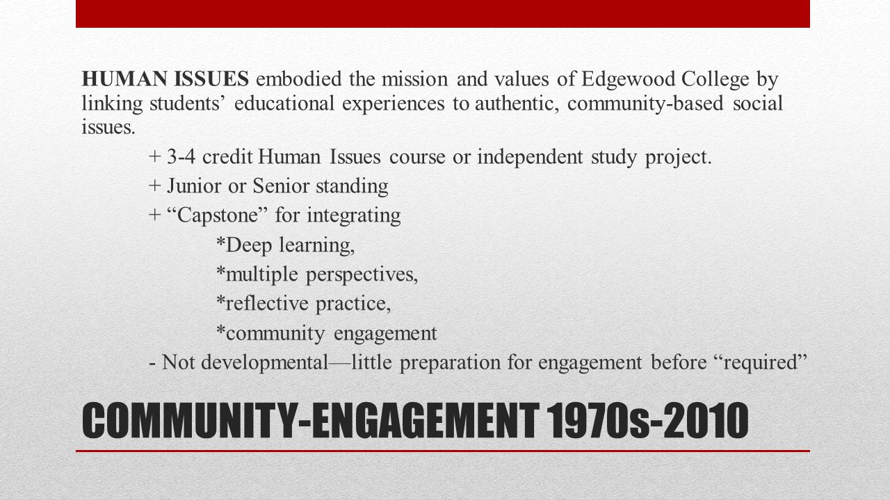 COMMUNITY-ENGAGEMENT 1970s-2010 HUMAN ISSUES embodied the mission and values of Edgewood College by linking students' educational experiences to authentic, community-based social issues.