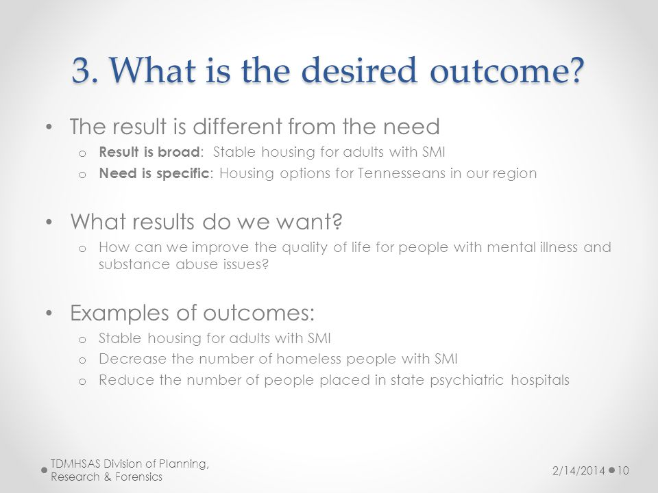3. What is the desired outcome.