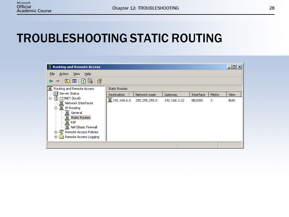 Chapter 12: TROUBLESHOOTING28 TROUBLESHOOTING STATIC ROUTING