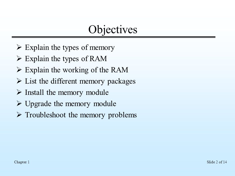 Slide 2 of 14Chapter 1 Objectives  Explain the types of memory  Explain the types of RAM  Explain the working of the RAM  List the different memory packages  Install the memory module  Upgrade the memory module  Troubleshoot the memory problems