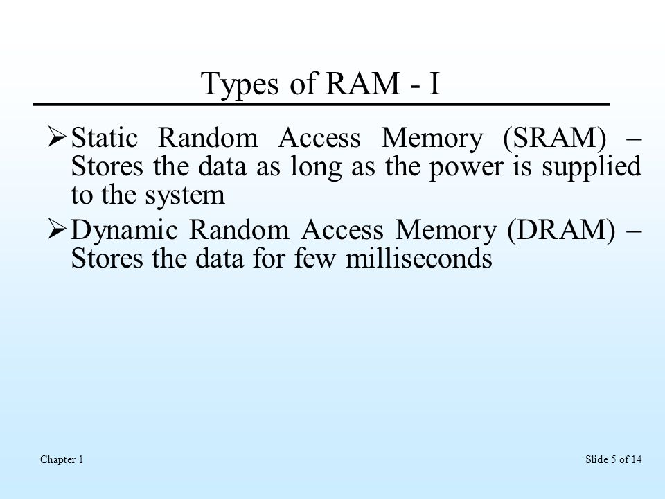 Slide 5 of 14Chapter 1 Types of RAM - I  Static Random Access Memory (SRAM) – Stores the data as long as the power is supplied to the system  Dynamic Random Access Memory (DRAM) – Stores the data for few milliseconds
