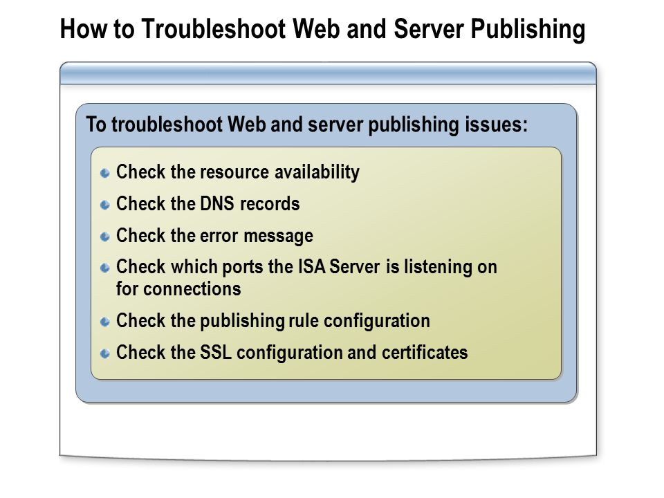 How to Troubleshoot Web and Server Publishing To troubleshoot Web and server publishing issues: Check the resource availability Check the DNS records Check the error message Check which ports the ISA Server is listening on for connections Check the publishing rule configuration Check the SSL configuration and certificates Check the resource availability Check the DNS records Check the error message Check which ports the ISA Server is listening on for connections Check the publishing rule configuration Check the SSL configuration and certificates