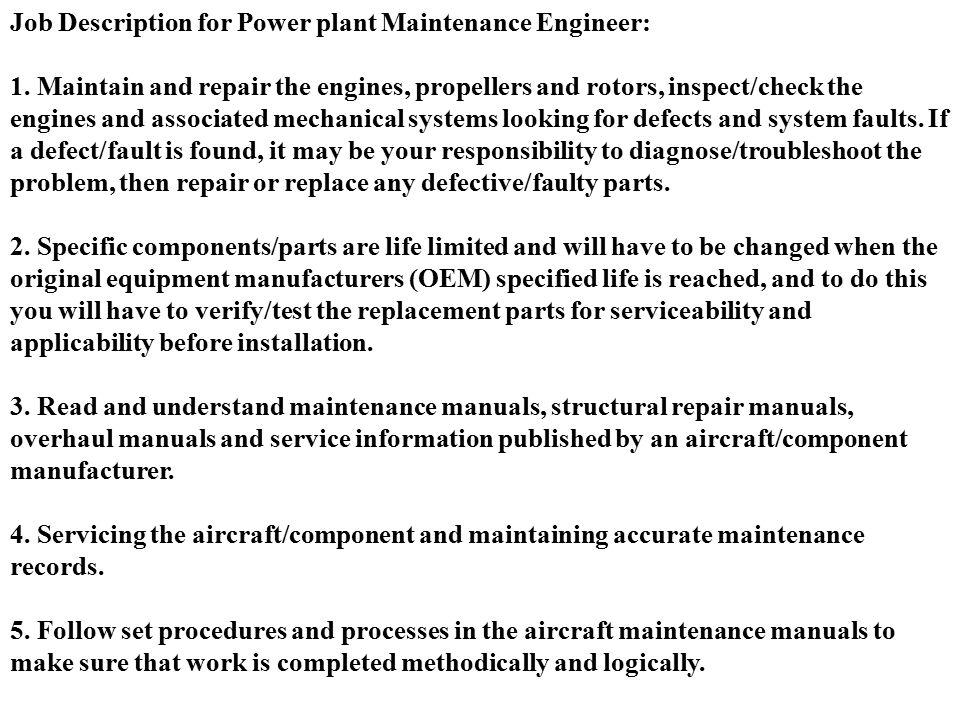 Maintenance Engineer Job Description. Detailed Job Description ...