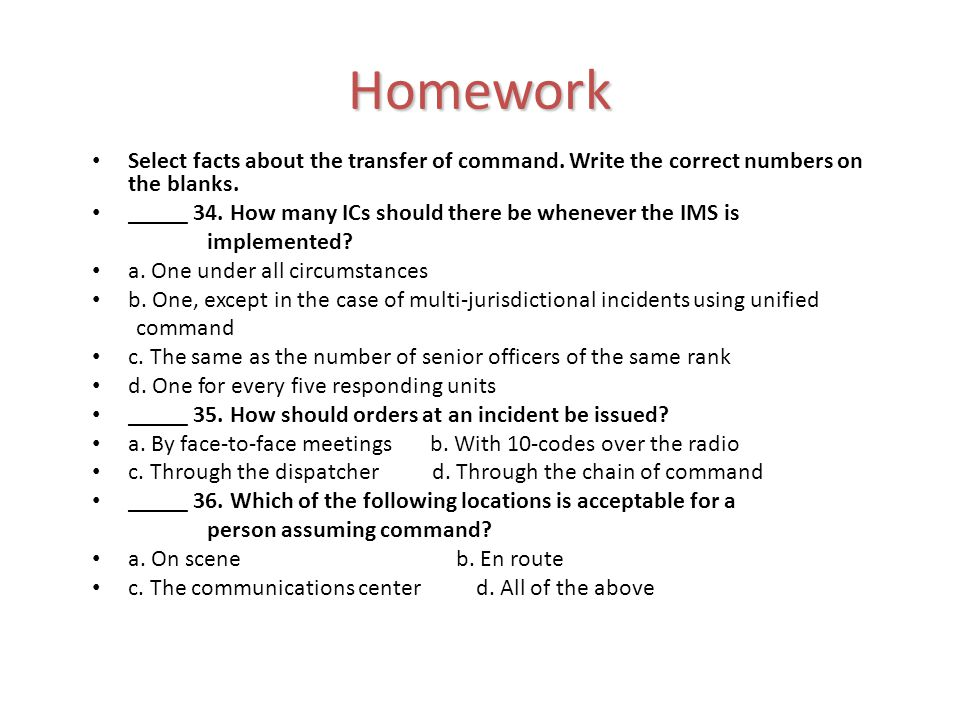 Select facts about the transfer of command. Write the correct numbers on the blanks.