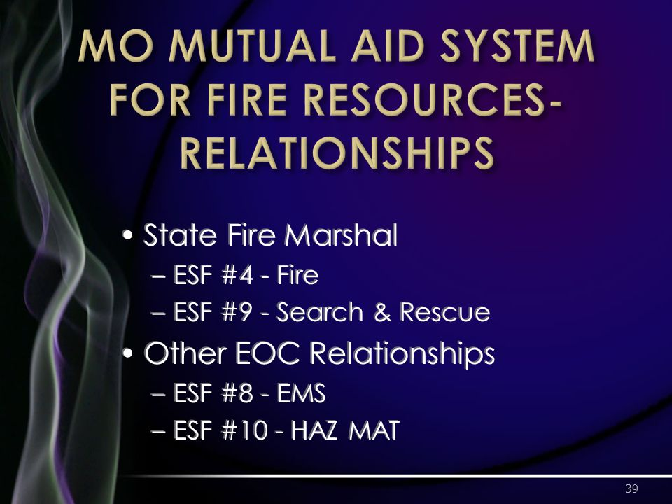 State Fire Marshal –ESF #4 - Fire –ESF #9 - Search & Rescue Other EOC Relationships –ESF #8 - EMS –ESF #10 - HAZ MAT 39