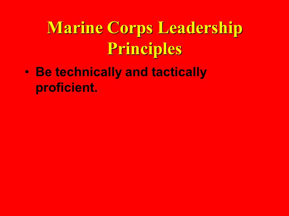 Marine Corps Leadership Principles Be technically and tactically proficient.