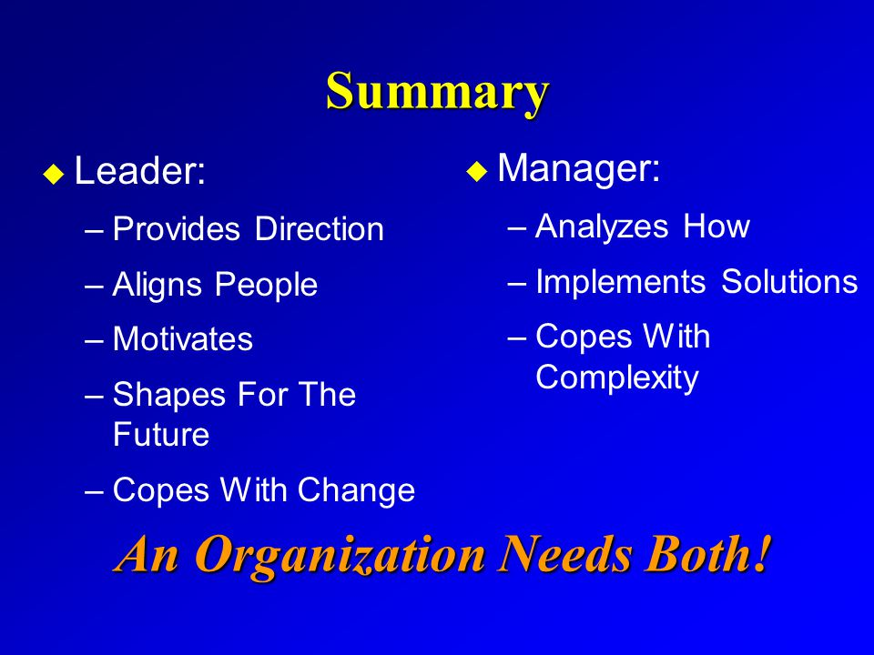 Summary u Leader: –Provides Direction –Aligns People –Motivates –Shapes For The Future –Copes With Change u Manager: –Analyzes How –Implements Solutio