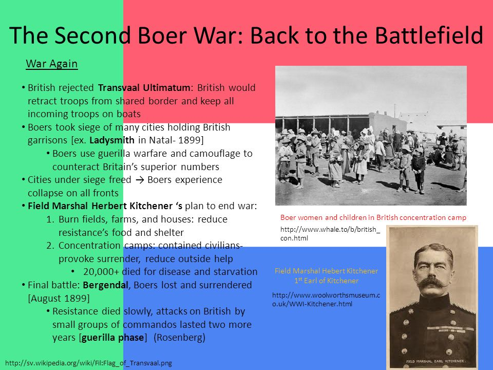 The Second Boer War: Back to the Battlefield War Again British rejected Transvaal Ultimatum: British would retract troops from shared border and keep all incoming troops on boats Boers took siege of many cities holding British garrisons [ex.