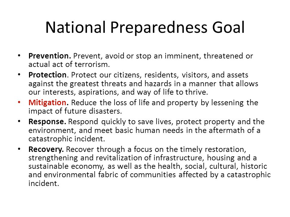 National Preparedness Goal Prevention.