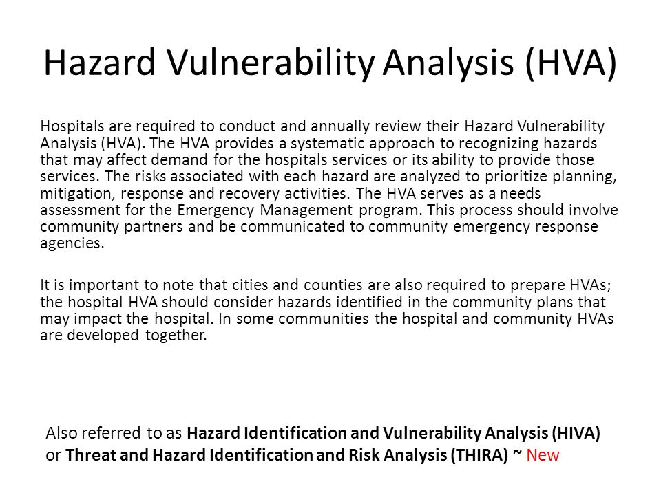 Hazard Vulnerability Analysis (HVA) Hospitals are required to conduct and annually review their Hazard Vulnerability Analysis (HVA).