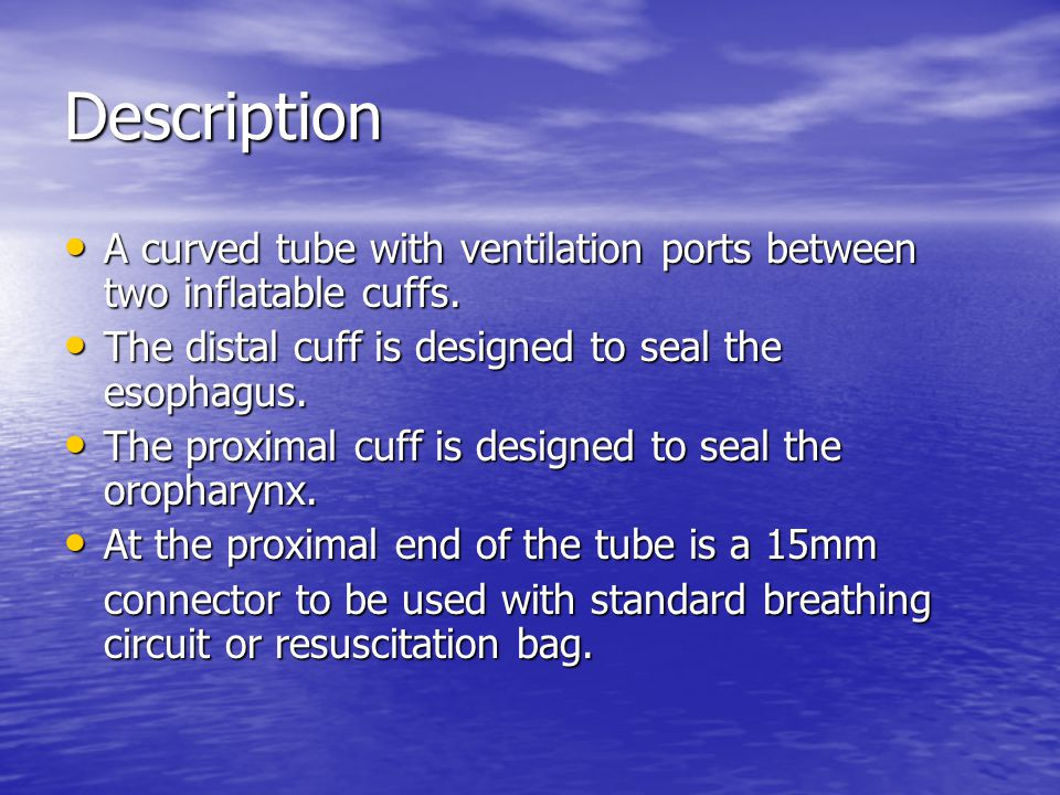 Description A curved tube with ventilation ports between two inflatable cuffs.