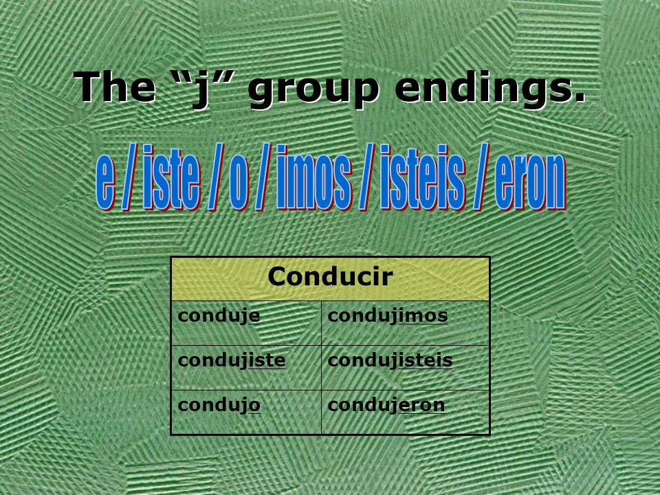 The j group Verbs in this group: produj-to produceproducir traduj-to translatetraducir traj-to bringtraer dij-to say,telldecir conduj-to driveconducir StemMeaningVerb