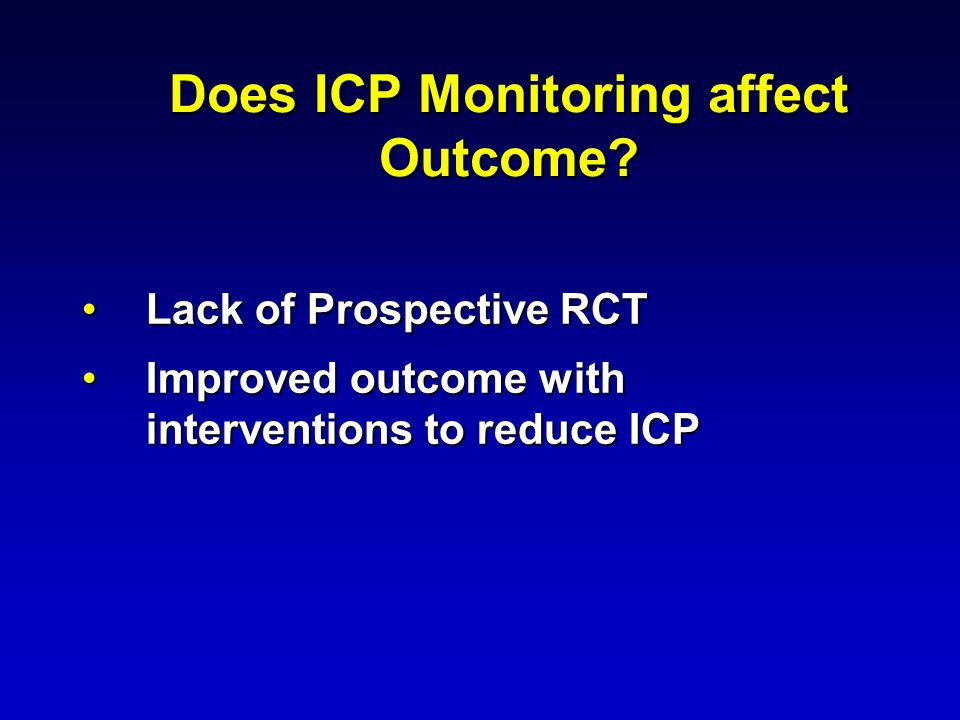 Does ICP Monitoring affect Outcome.