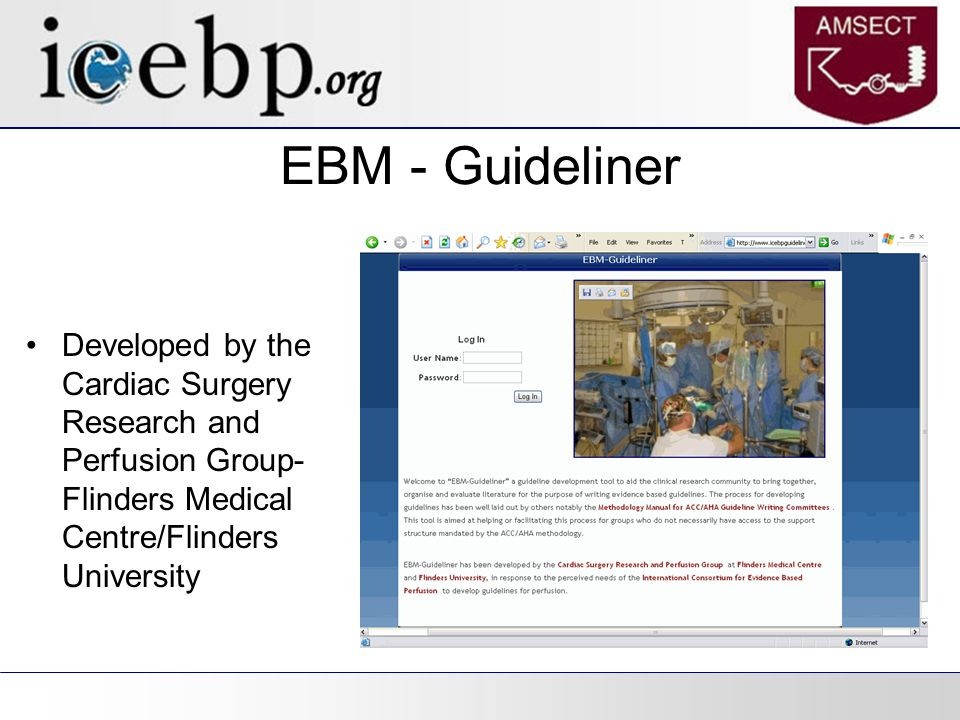 EBM - Guideliner Developed by the Cardiac Surgery Research and Perfusion Group- Flinders Medical Centre/Flinders University