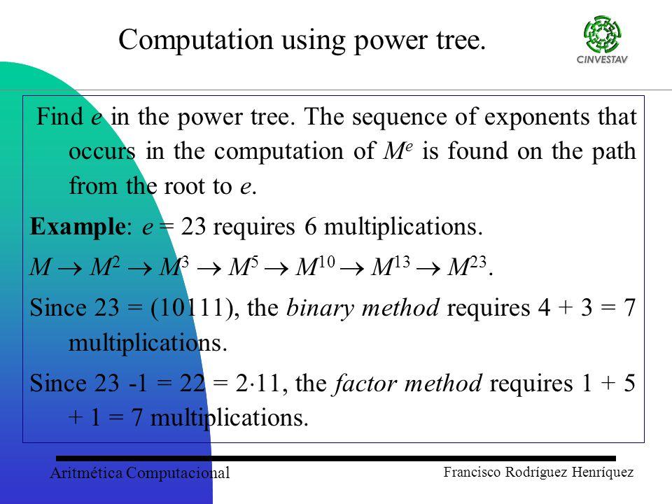 Aritmética Computacional Francisco Rodríguez Henríquez Computation using power tree.
