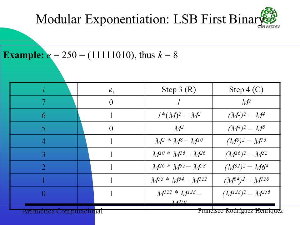 Aritmética Computacional Francisco Rodríguez Henríquez Modular Exponentiation: LSB First Binary Example: e = 250 = (11111010), thus k = 8 ieiei Step 3 (R)Step 4 (C) 701M2M2 611*(M) 2 = M 2 (M 2 ) 2 = M 4 50M2M2 (M 4 ) 2 = M 8 41M 2 * M 8 = M 10 (M 8 ) 2 = M 16 31M 10 * M 16 = M 26 (M 16 ) 2 = M 32 21M 26 * M 32 = M 58 (M 32 ) 2 = M6 4 11M 58 * M 64 = M 122 (M 64 ) 2 = M 128 01M 122 * M 128 = M 250 (M 128 ) 2 = M 256