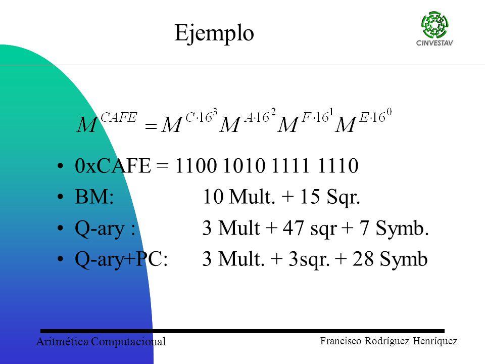 Aritmética Computacional Francisco Rodríguez Henríquez Ejemplo 0xCAFE = 1100 1010 1111 1110 BM: 10 Mult.