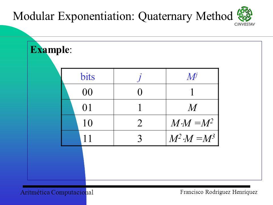 Aritmética Computacional Francisco Rodríguez Henríquez Modular Exponentiation: Quaternary Method Example: bitsjMjMj 0001 011M 102 M  M =M 2 113 M 2  M =M 3