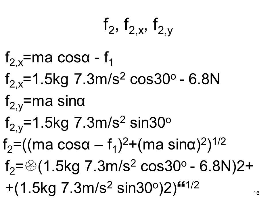 16 f 2, f 2,x, f 2,y f 2,x =ma cosα - f 1 f 2,y =ma sinα f 2 =((ma cosα – f 1 ) 2 +(ma sinα) 2 ) 1/2 f 2,x =1.5kg 7.3m/s 2 cos30 o - 6.8N f 2,y =1.5kg 7.3m/s 2 sin30 o f 2 =  (1.5kg 7.3m/s 2 cos30 o - 6.8N)2+ +(1.5kg 7.3m/s 2 sin30 o )2)  1/2
