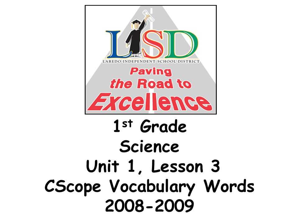 1 st Grade Science Unit 1, Lesson 3 CScope Vocabulary Words 2008-2009