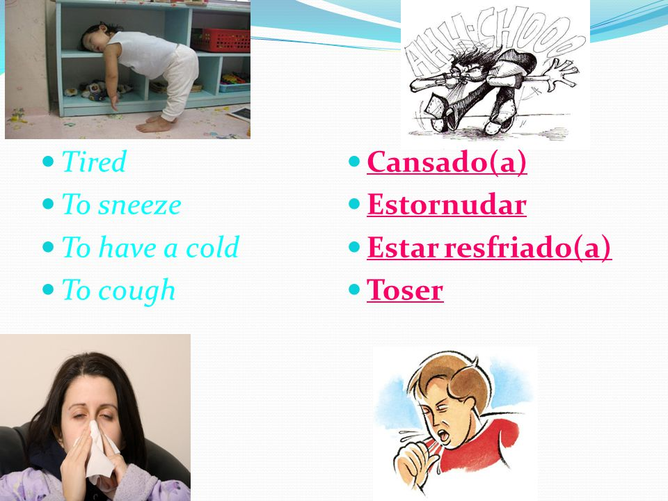 Tired To sneeze To have a cold To cough Cansado(a) Estornudar Estar resfriado(a) Toser