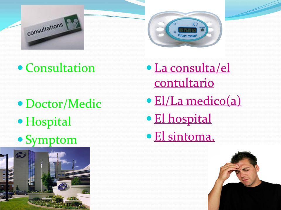 Consultation Doctor/Medic Hospital Symptom La consulta/el contultario El/La medico(a) El hospital El sintoma.