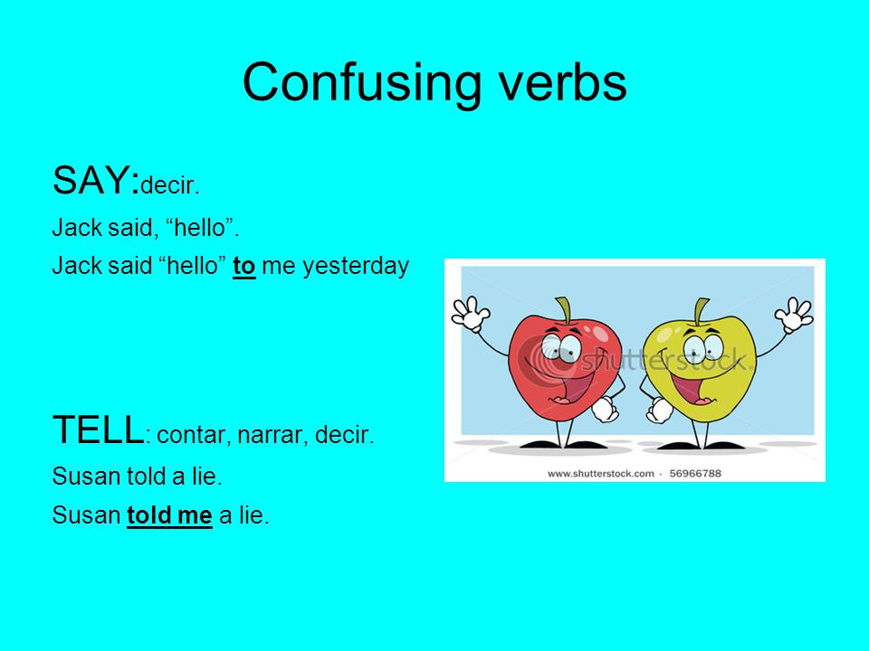 Confusing verbs SAY: decir. Jack said, hello .