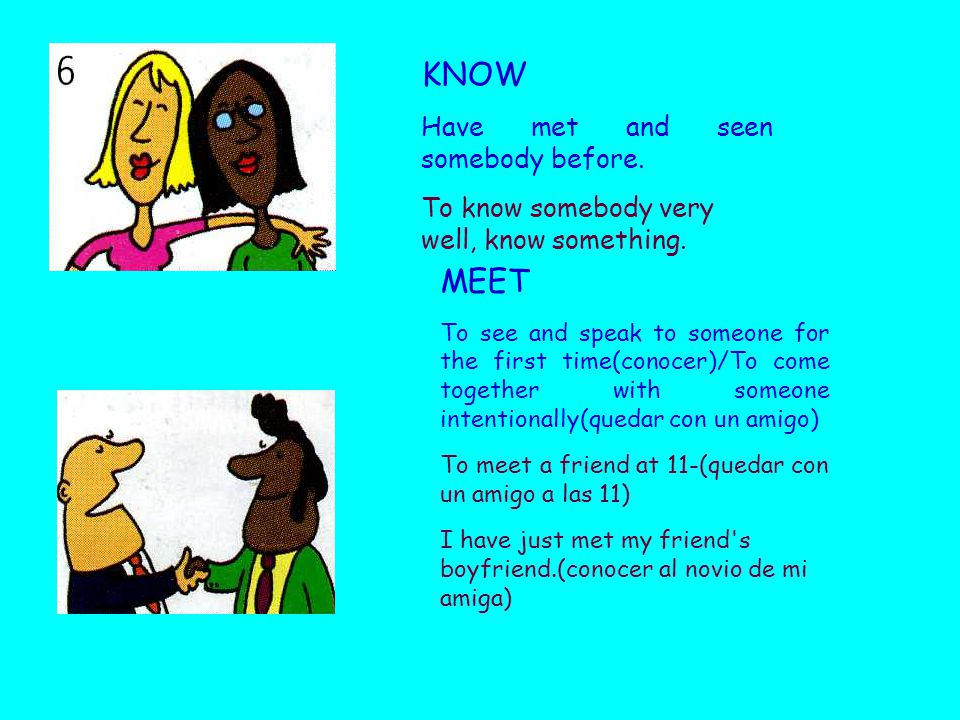 KNOW Have met and seen somebody before. To know somebody very well, know something.