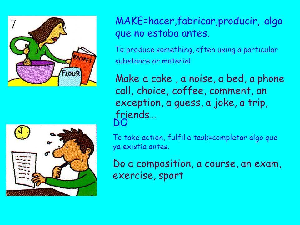 MAKE=hacer,fabricar,producir, algo que no estaba antes.