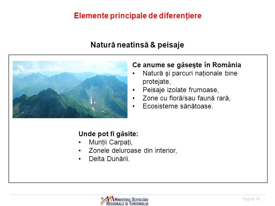 Pagina 14 Elemente principale de diferenţiere Ce anume se găseşte în România Natură şi parcuri naţionale bine protejate, Peisaje izolate frumoase, Zone cu floră/sau faună rară, Ecosisteme sănătoase.