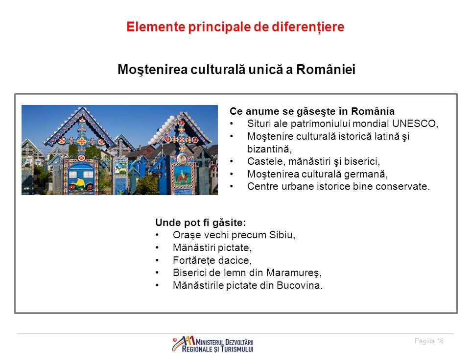 Pagina 16 Elemente principale de diferenţiere Ce anume se găseşte în România Situri ale patrimoniului mondial UNESCO, Moştenire culturală istorică latină şi bizantină, Castele, mănăstiri şi biserici, Moştenirea culturală germană, Centre urbane istorice bine conservate.