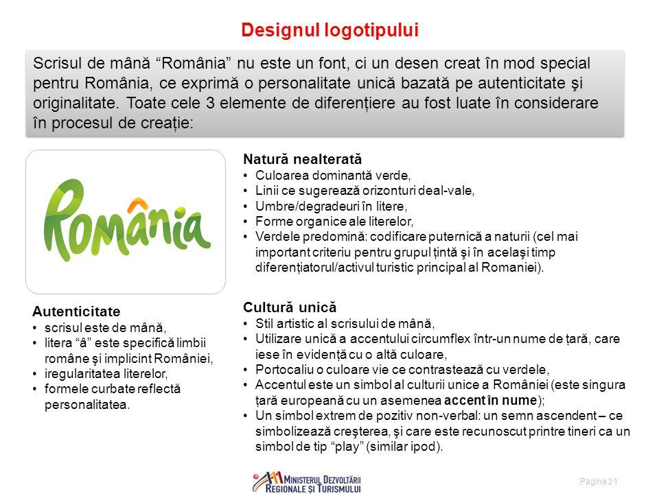 Pagina 21 Designul logotipului Scrisul de mână România nu este un font, ci un desen creat în mod special pentru România, ce exprimă o personalitate unică bazată pe autenticitate şi originalitate.