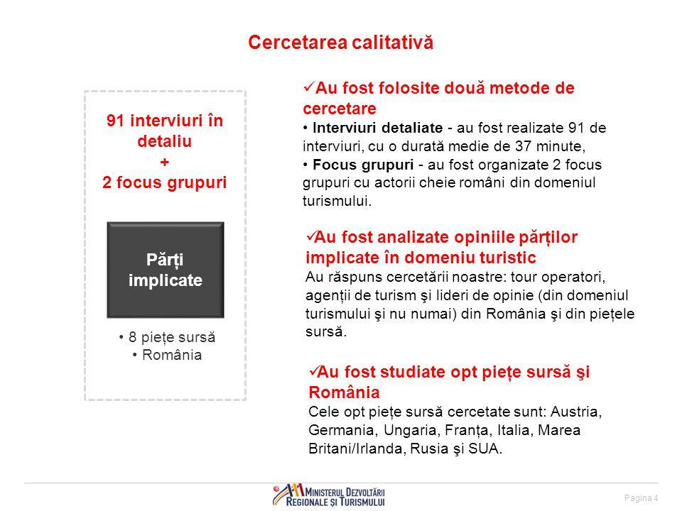 Pagina 4 Cercetarea calitativă Părţi implicate 8 pieţe sursă România 91 interviuri în detaliu + 2 focus grupuri Au fost folosite două metode de cercetare Interviuri detaliate - au fost realizate 91 de interviuri, cu o durată medie de 37 minute, Focus grupuri - au fost organizate 2 focus grupuri cu actorii cheie români din domeniul turismului.