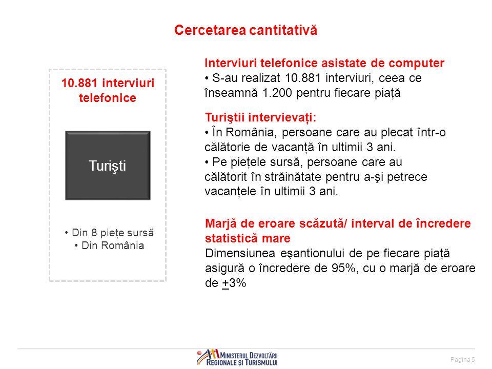Pagina 5 Cercetarea cantitativă Interviuri telefonice asistate de computer S-au realizat 10.881 interviuri, ceea ce înseamnă 1.200 pentru fiecare piaţă Turiştii intervievaţi: În România, persoane care au plecat într-o călătorie de vacanţă în ultimii 3 ani.