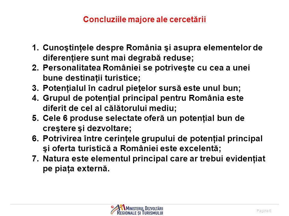 Pagina 6 Concluziile majore ale cercetării 1.Cunoştinţele despre România şi asupra elementelor de diferenţiere sunt mai degrabă reduse; 2.Personalitatea României se potriveşte cu cea a unei bune destinaţii turistice; 3.Potenţialul în cadrul pieţelor sursă este unul bun; 4.Grupul de potenţial principal pentru România este diferit de cel al călătorului mediu; 5.Cele 6 produse selectate oferă un potenţial bun de creştere şi dezvoltare; 6.Potrivirea între cerinţele grupului de potenţial principal şi oferta turistică a României este excelentă; 7.Natura este elementul principal care ar trebui evidenţiat pe piaţa externă.