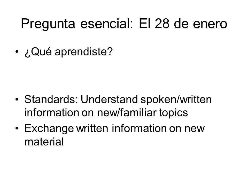 Pregunta esencial: El 28 de enero ¿Qué aprendiste.
