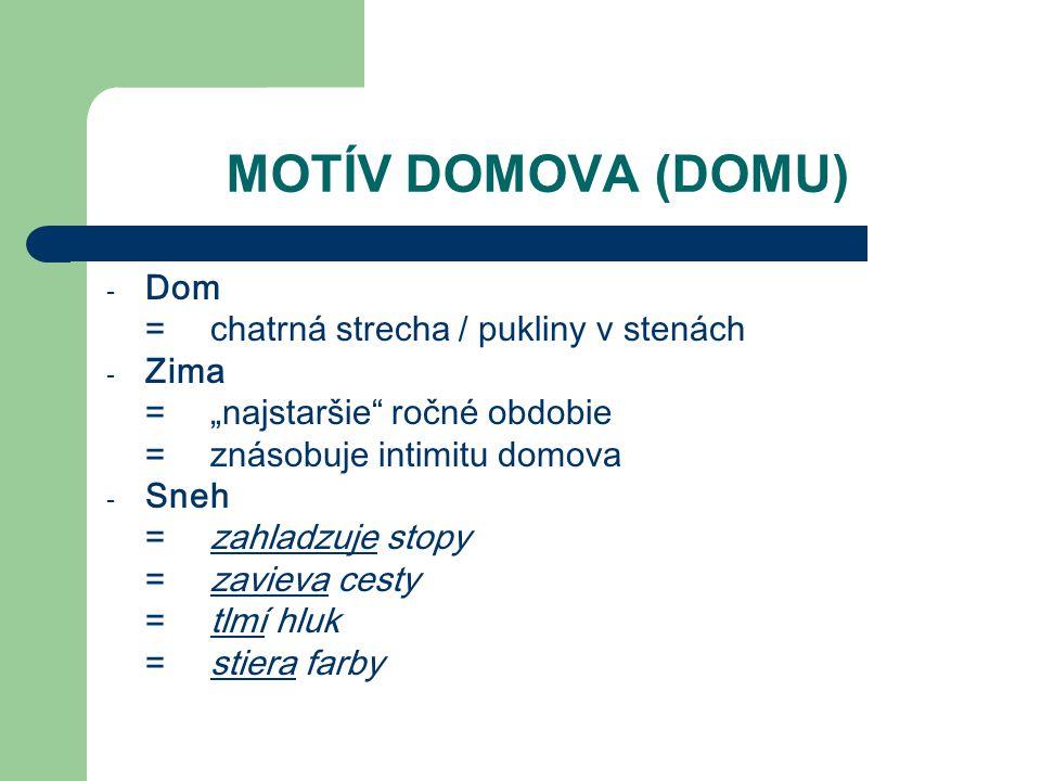 """MOTÍV DOMOVA (DOMU) - Dom =chatrná strecha / pukliny v stenách - Zima =""""najstaršie"""" ročné obdobie =znásobuje intimitu domova - Sneh =zahladzuje stopy"""