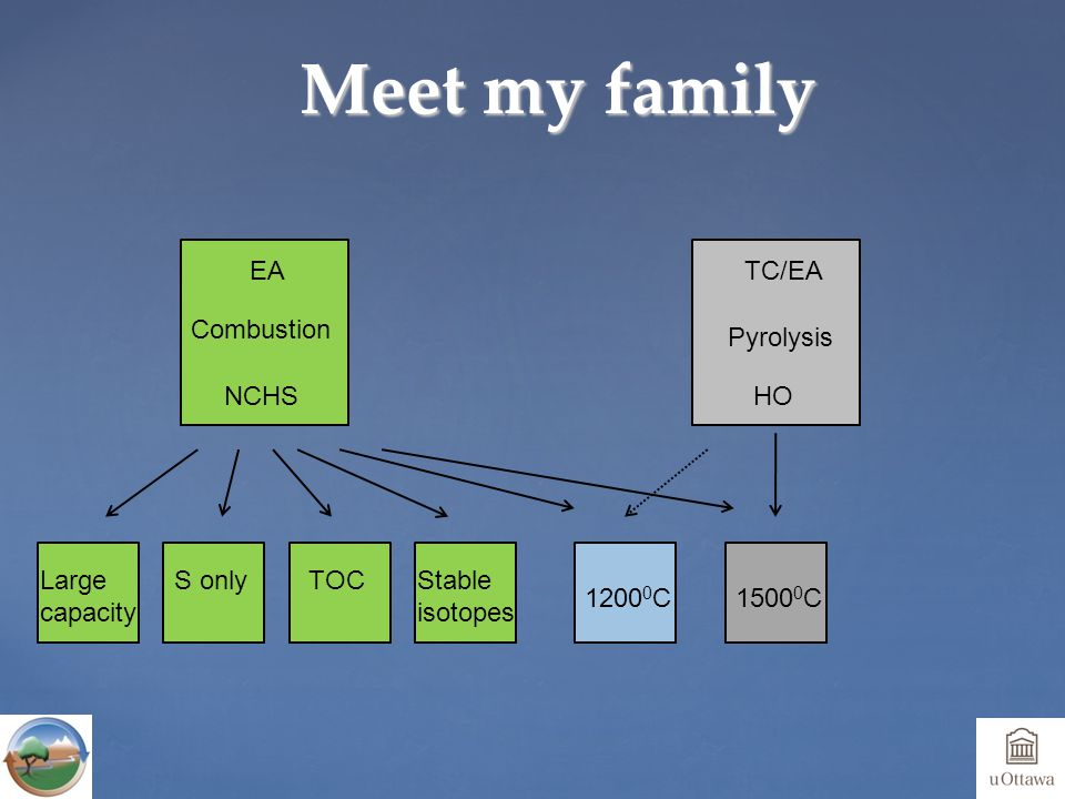 Meet my family Combustion EA NCHS TC/EA Pyrolysis HO Large capacity S onlyTOCStable isotopes 1500 0 C1200 0 C