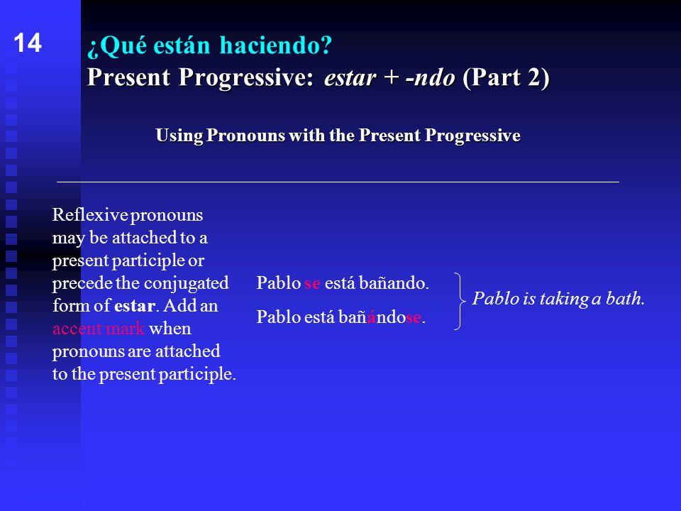 Present Progressive: estar + -ndo (Part 2) ¿Qué están haciendo.