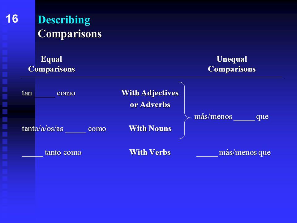 Comparisons Describing Comparisons EqualUnequal ComparisonsComparisons tan _____ como With Adjectives or Adverbs más/menos _____ que tanto/a/os/as _____ comoWith Nouns _____ tanto comoWith Verbs _____ más/menos que 16