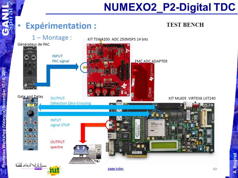Prometeo Workshop (Valencia) November 17-18, 2011 A. Boujrad NUMEXO2_P2-Digital TDC TEST BENCH