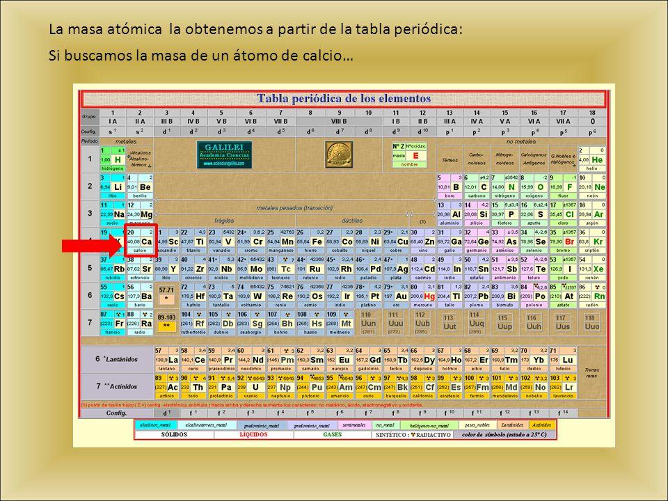 La masa atómica la obtenemos a partir de la tabla periódica: Si buscamos la masa de un átomo de calcio…