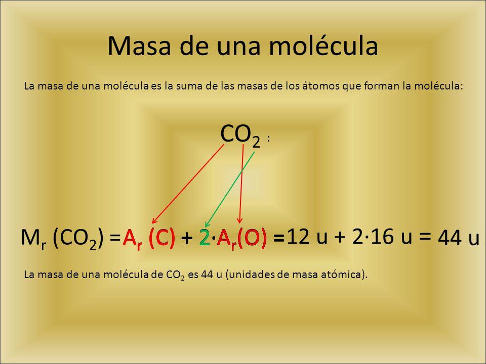 Masa de una molécula La masa de una molécula es la suma de las masas de los átomos que forman la molécula: M r (CO 2 ) =A r (C) + 2·A r (O) = 12 u + 2