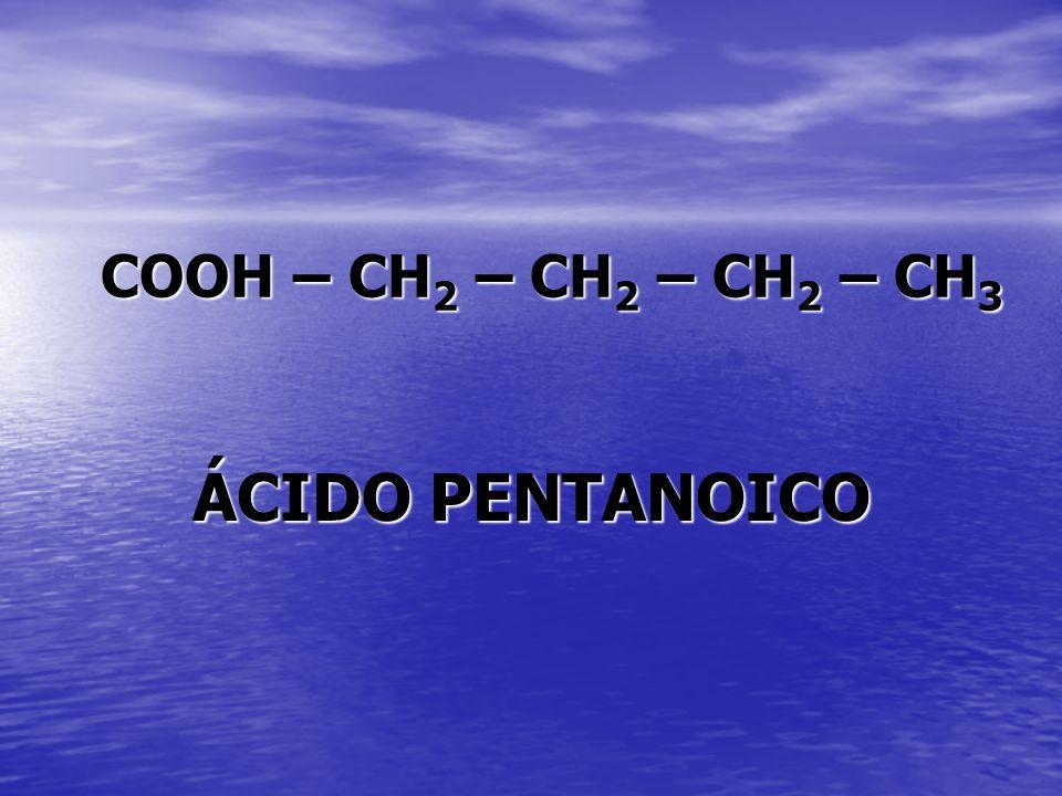 COOH – CH 2 – CH 2 – CH 2 – CH 3 ÁCIDO PENTANOICO