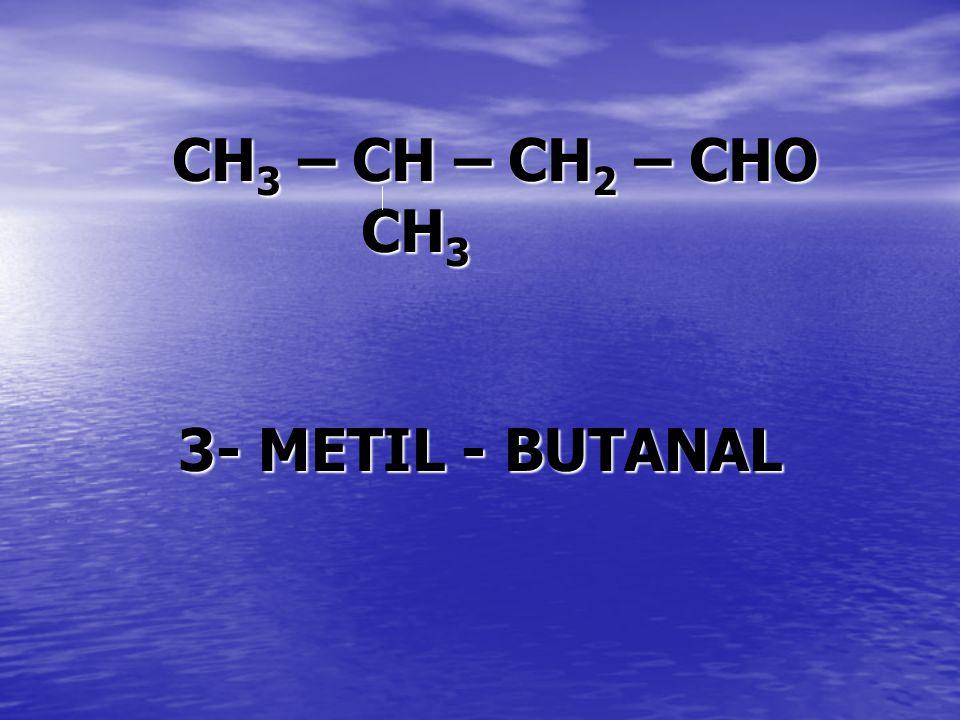 CH 3 – CH – CH 2 – CHO CH 3 3- METIL - BUTANAL