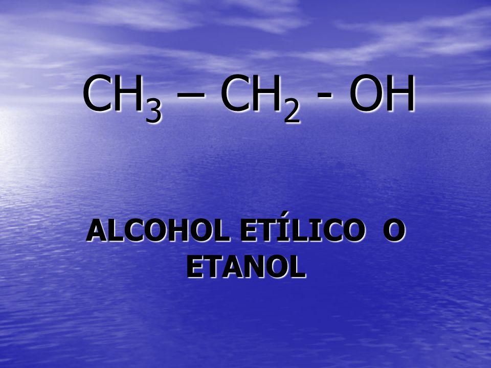 CH 3 – CH 2 - OH ALCOHOL ETÍLICO O ETANOL